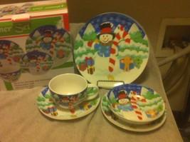 SNOWMAN 5 PC PLACE SETTING--DINNER SET  CHRISTMAS--CERAMIC---FREE SHIP--NEW - $26.00
