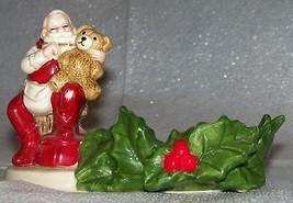 Vtg Christmas Santa Claus Teddy Bear Gibson Greeting Card Figure Candle ... - $9.02