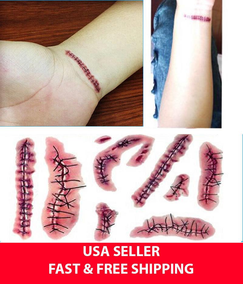 Fake Halloween Tattoo Cut Blood Spider Stitches Zombie Scar Costume Make-up