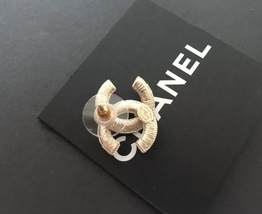 NEW Chanel CC Earrings Large Gold Pearl Embellished Stud Earrings image 4