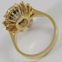 18K YELLOW GOLD BAND FLOWER RING WITH DIAMONDS AND BLUE TOPAZ, MADE IN ITALY image 2