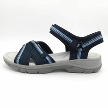 Lands End Womens Sport Sandals Blue Geometric Ankle Strap Hook & Loop 10 B - $26.72