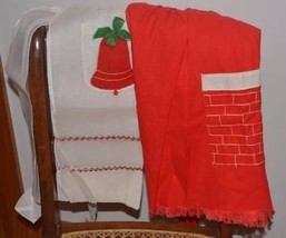 2 Christmas Holiday waist Aprons Vintage Sheer w/ Bell + red cotton w/ c... - $11.59