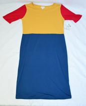 Blue Red Yellow Block LULAROE JULIA Short Sleeve Knee Length Dress Large - $23.76