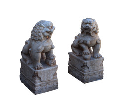 Chinese Pair Off White Marble Stone Fengshui Foo Dogs Statues cs3224 image 3