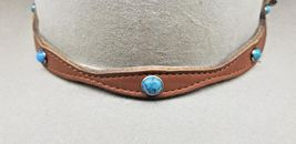 TAN Scalloped HATBAND LEATHER w Sm+Lg TURQUOISE CONCHOS and Buckle Set H... - $23.16