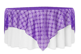 "Purple SHEER SEQUINS CIRCLES Overlay, Tablecloths  84""  Square, Wedding,... - $44.95"
