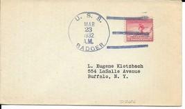 BADGER (DD-126) 23 Mar 1932 Locy Type 3(B-BBT) Postmark - $3.47
