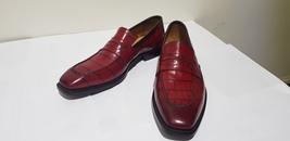 Handmade Men Burgundy Crocodile Leather Loafer Shoes image 2