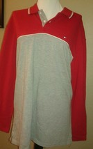 Vtg 90's Tommy Hilfiger Red&Gray Long Sleeved   Polo Shirt Sz Xl - $34.64
