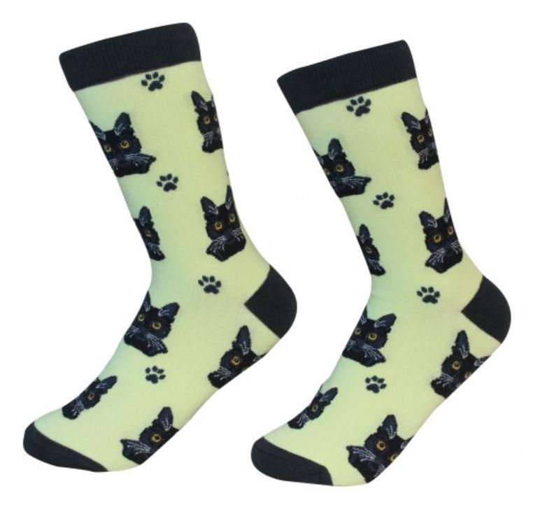 Black Tabby Cat Socks Unisex Dog Cotton/Poly One size fits most