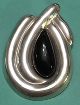 Sterling Silver TAXCO MODERNIST ONYX Brooch Pin Vintage 925 - $33.66
