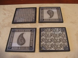 NEW never used set of 4 black & white paisley design  COASTERS/ trivets - $18.80