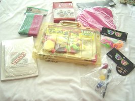 Kids Craft Supply Lot Cards Rings Felt Pieces Stencils Lanyard Clips - $9.99