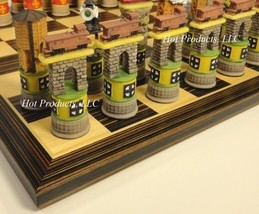 "TRAIN Chess Set W/ 14"" Ebony & Maple Wood Veneer Board - $99.95"