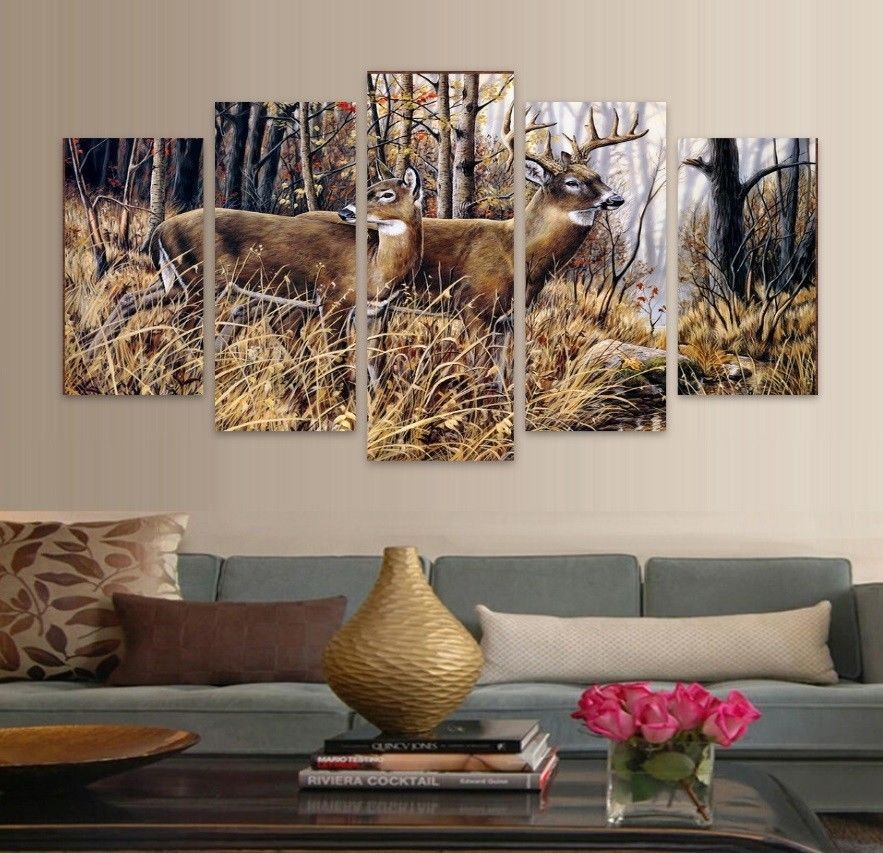 Large Framed Buck Doe Field Deer Hunting Wall Art Print Home Decor 5 Piece for sale  USA