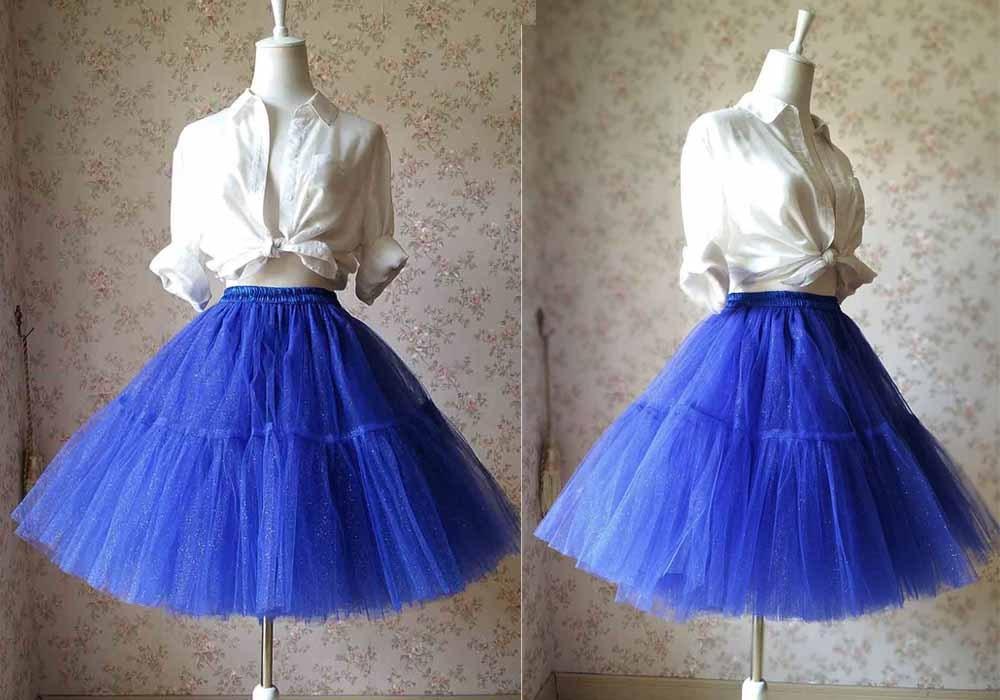 Cobalt Blue Midi Tulle Skirt Blue High Waist Ballerina Skirt Petticoats Plus NWT