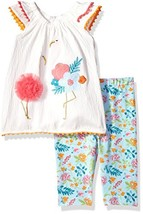Mud Pie Baby Girls Flamingo Flutter Sleeve Tunic and Capri 2 Pc Playwear... - $28.66