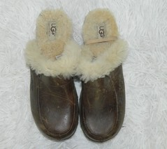 Ugg Clog Brown Leather Sheepskin Lined Mules Women's Shoes Size 6  - $29.67