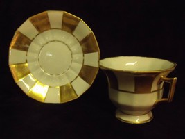 Rare Pattern Early Limoges Green Star Mark Gilt Checkered Cups and Saucers - $54.45