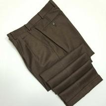 Paul Fredrick Wool Cashmere Pants - DBL Pleat Cuffed - Brown - 38x31 - $29.70