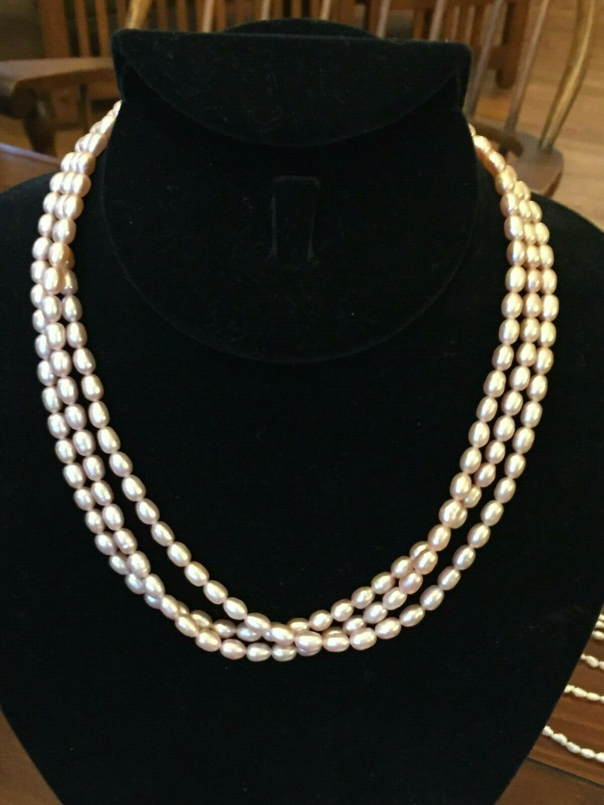 "Pink Seed Pearl 3 Strand Necklace 16 1/2"" Freshwater 14k gold filled NEW"