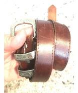 L. Chessler Womens Vintage Brown Leather Belt Size Medium Western  - $9.85