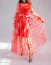 Red Long Tutu Dress Gowns Long Sleeve Vintage Inspired Pink Plaid Pattern image 3