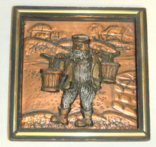 Copper Resin Relief Wall Hang Plaque Artwork Water Carrier Bearer Jewish Town  image 4