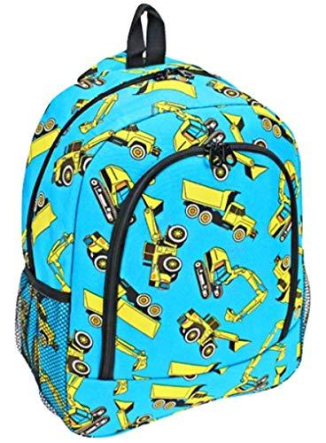 "Boys Construction Truck Print 16"" School Backpack Blue"