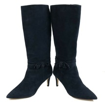 """Kate Spade, Women's 10M, Soft Suede Bow Ribbon Knee-High Tall Navy 3"""" He... - $188.10"""