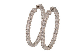 Sterling Silver Rhodium Plated CZ Hoop Earrings L20597 - $1.920,43 MXN