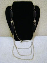 Fashion Jewelry, Faux Onyx, Silver-Toned Multi Chain Beaded Necklace, Accessory - $11.87