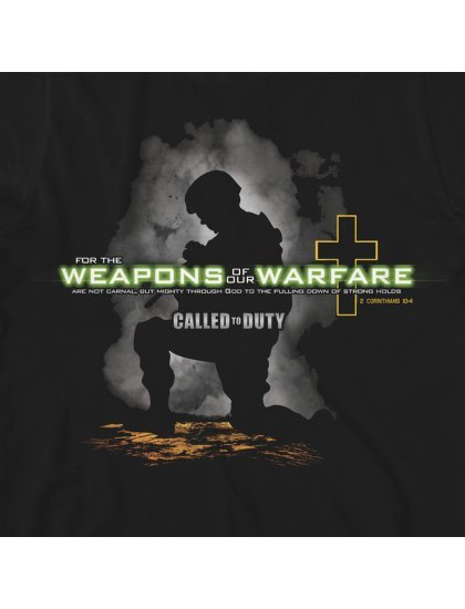 """Christian Mens T-Shirt """"WEAPONS OF OUR WARFARE"""" Black by Kerusso - NEW"""