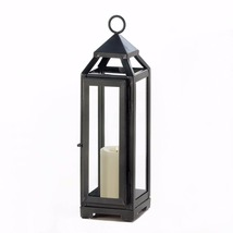 "Tall Contemporary Candle Lantern Slate Dark Gray w/ Clear Glass 12.8"" in... - $25.95"