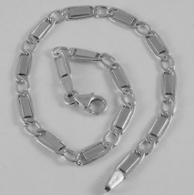 SOLID 18K WHITE GOLD BRACELET WITH FLAT ALTERNATE 4 MM OVAL LINK, MADE I... - $299.00