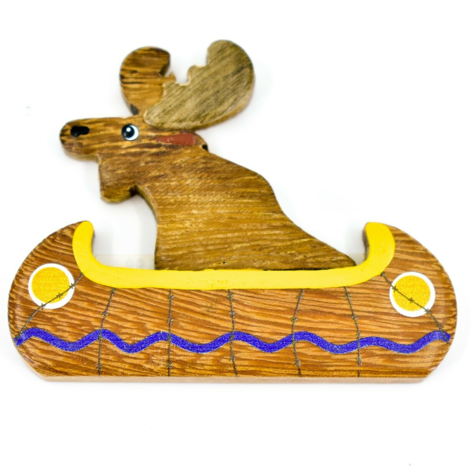 Northwoods Moose Riding in Canoe Painted Wood Rustic Cabin Refrigerator Magnet