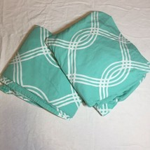 Mint Green Full Size Fitted and Flat Dheets Pottery Barn Dorm Geometric ... - $29.02