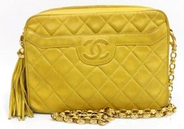 AUTHENTIC CHANEL Lambskin Leather Quilted Shoul... - $1,700.00