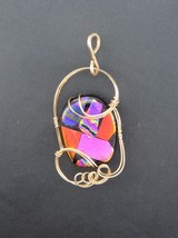 FUSED GLASS PENDANT 14 K GOLD FILLED WIRE COLORFUL - $37.62