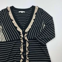 CAbi Cardigan Sweater Womens Small Black Stripe 3/4 Sleeve Ruffle Button B13-03P image 3
