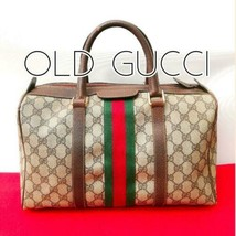 Auth GUCCI Boston Bag Brown OLD Gucci Vintage GG Sherry line Inner Pocke... - $487.08