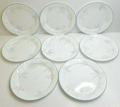 "8 Corelle Pink Trio 10 1/4"" Corning Pink Flower Blossom Swirl Rim Dinner Plates - $56.30"