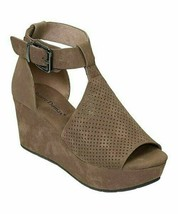Pierre Dumas, Taupe Perforated Ankle-Strap Natural Sandal - $41.00