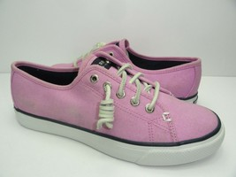 Ladies Canvas Sperry~ TOP-SIDER Sneakers In Seacost Pink Leather Lace~Size 5~NEW - $25.24