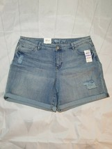 Style & Co Women's Cuffed Denim Shorts ripped mid rise Size 18 anchor - $20.30