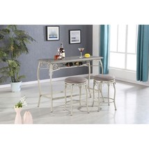 Rectangle Dining Table Set 3 Piece Counter Height Armless Chair Seat Fur... - $414.81
