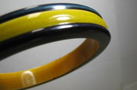 Vintage plastic Bangle spacer Cuff Bracelet Blackish Blue Yellow inlay p... - $3.74