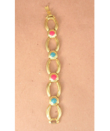 Gold Colored Metal with Pink & Blue Enamel Acce... - $15.00