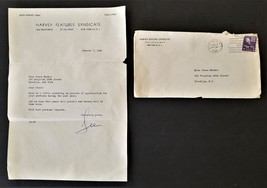 1946 vintage HARVEY FEATURES SYNDICATE LETTER signed LEE brooklyn MARMOR... - $145.00